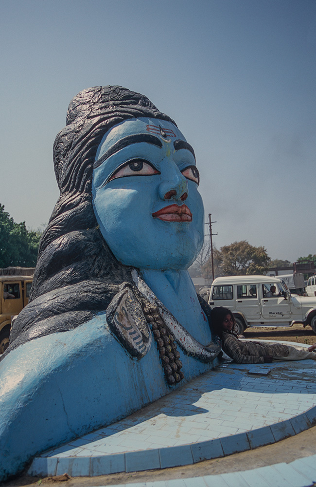 Shiva statue in the car park outside