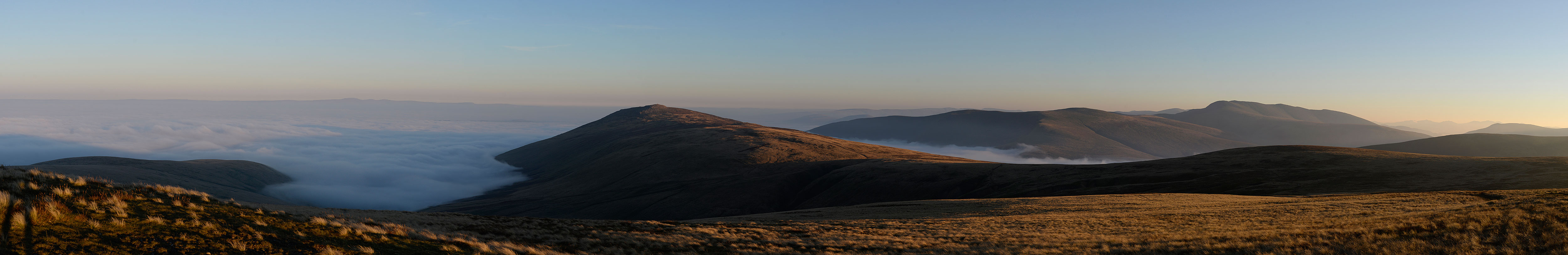 Autumn 2015 saw a week of perfect conditions for this eyecatching phenomenon. This is a view looking fro east to south west, showing West Fell, Carrock Fell, Blencathra and Skiddaw.Stitch of six images. Nikon D610, 50mm