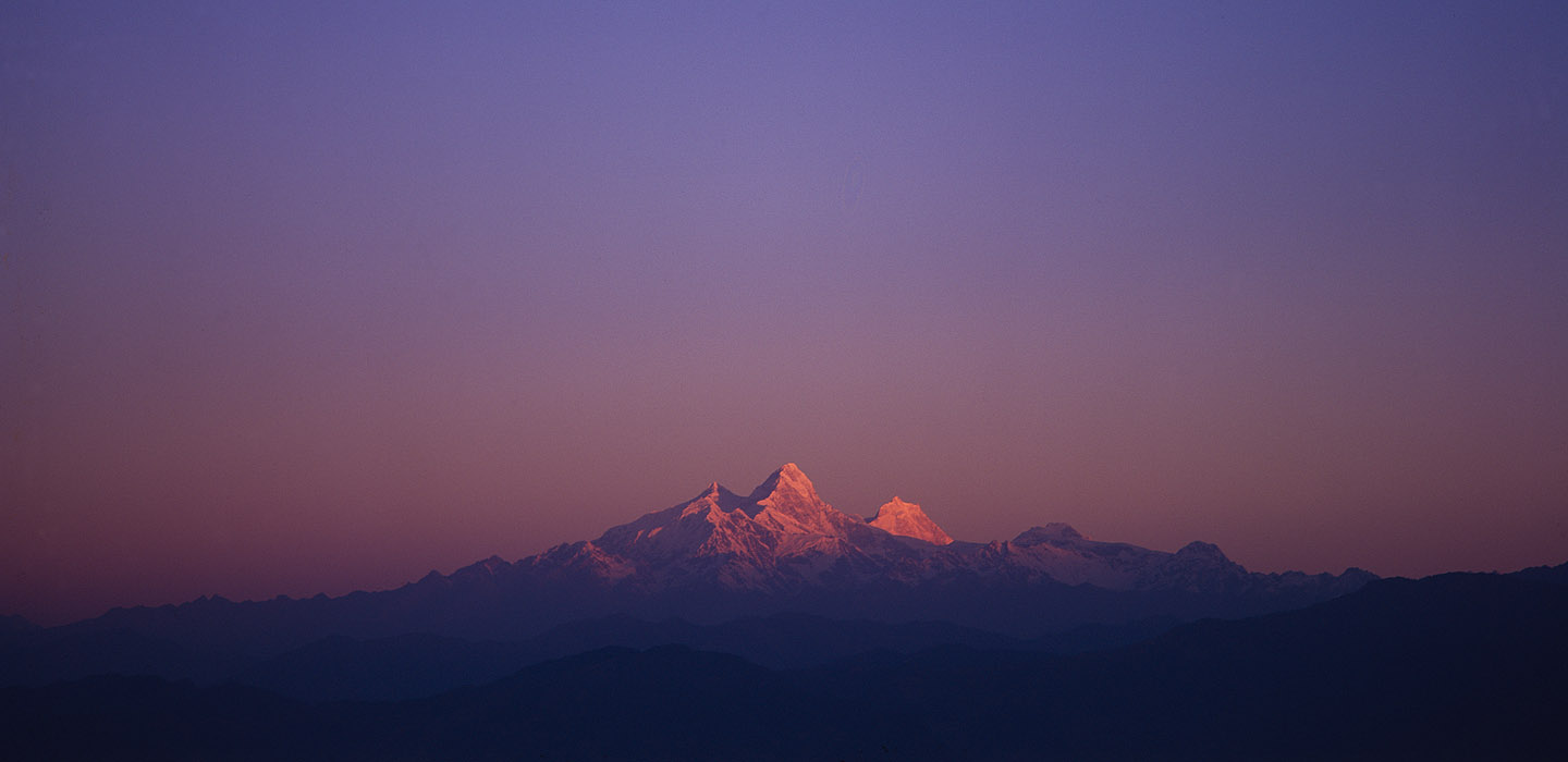 Seen at sunrise from Kakani on the rim of the Kathmandu valleyProject VeronicaMedium format images re-scanned in a professional glass film- holder with my Nikon Coolscan 9000 and Silverfast 8 software. These images display larger on the site - enjoy!Bronica ETRSi, 50mm, Fuji Velvia