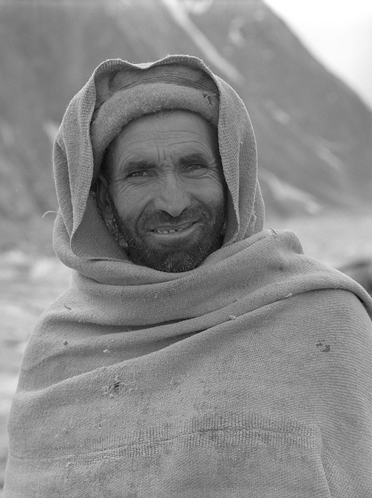 Portrait of a Balti porter on the Biafo glacier during a trek from Askole to Hunza via the Hispar PassBronica ETRSi, 70mm, Kodak T-Max