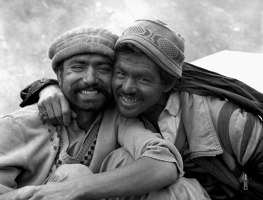 Portrait of two Balti porters on the Hispar glacier at Bitenmal during a trek from Askole to Hunza via the Hispar PassBronica ETRSi, 70mm, Kodak T-Max 400 @ 800ASA