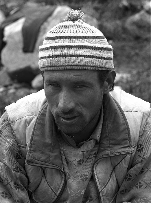 Portrait of a Balti porter on the Hispar glacier at Bitenmal  during a trek from Askole to Hunza via the Hispar PassBronica ETRSi, 70mm, Kodak T-Max 400 @ 800ASA