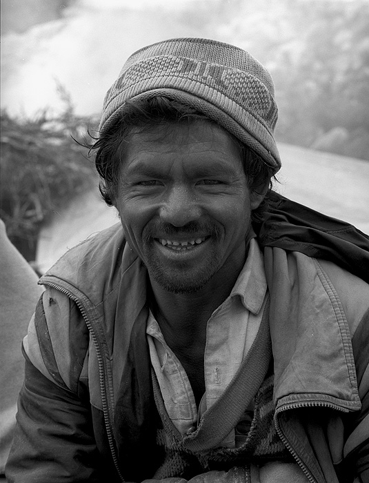 Portrait of a Balti porter on the Biafo glacier during a trek from Askole to Hunza via the Hispar PassBronica ETRSi, 70mm, Kodak T-Max 400 @ 800ASA