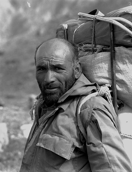 Portrait of a Balti porter on the Hispar glacier during a trek from Askole to Hunza via the Hispar PassBronica ETRSi, 70mm, Kodak T-Max 400 @ 800ASA