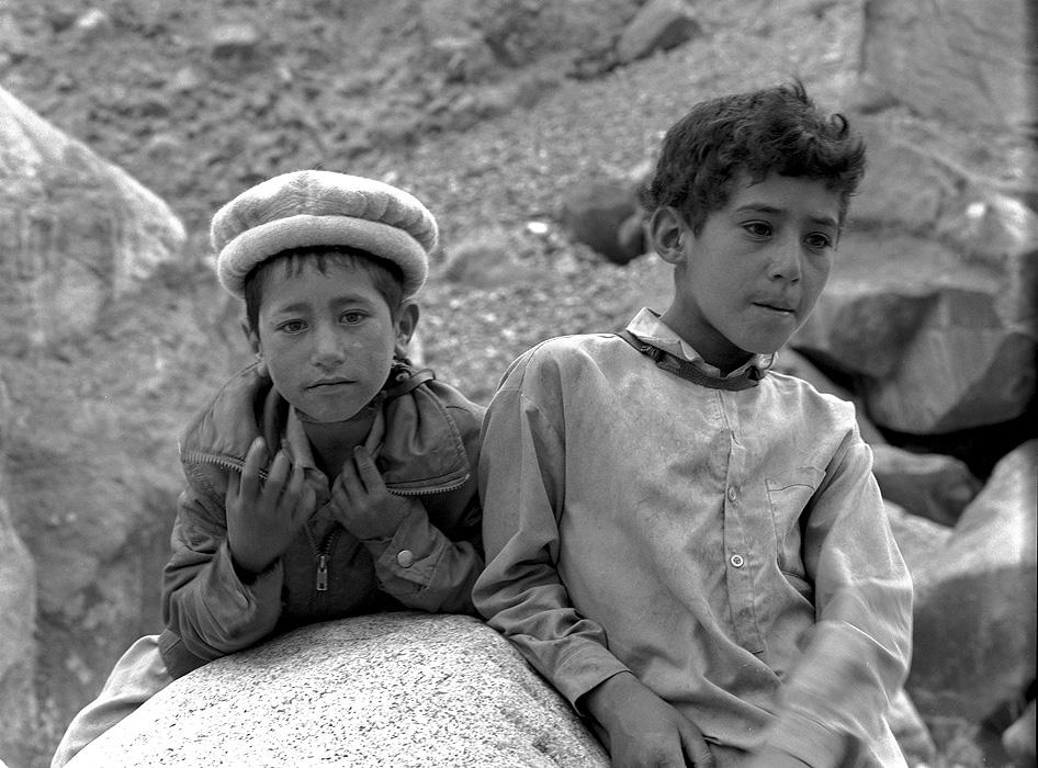 Portrait of two young Hispar boys at Hispar Jhola (wire pulley bridge across the Hispar River)Bronica ETRSi, 70mm, Kodak T-Max 400 @ 800ASA