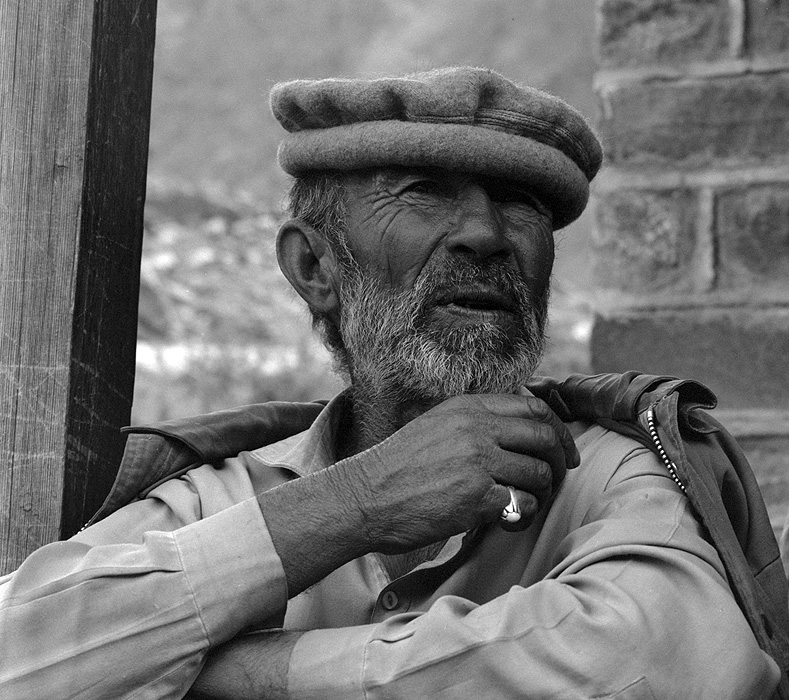 Portrait of a Hispar man at Hispar village after  a trek from Askole to Hunza via the Hispar PassBronica ETRSi, 70mm, Kodak T-Max 400 @ 800ASA