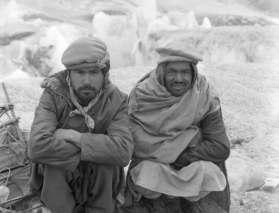 Two porters from Kaphlu village on the Biafo Glacier during a trek from Skardu to Hunza over the Hispar PassBronica ETRSi, 70mm, Kodak T-Max 400 @ 800ASA