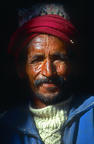 A Khojar man of the village.North-west Nepal.Nikon FM2, 17-35mm, Fuji Velvia 100