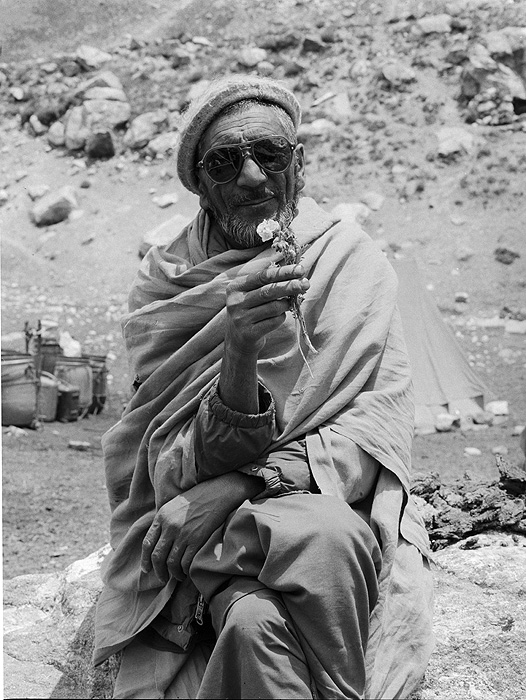 Portrait of a Balti porter on the Gondokoro glacier during an expedition to Gondoro PeakBronica ETRSi, 70mm, Ilford FP4