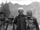 Balti porters & cook from Hushe on the Gondokoro glacier during an expedition to Gondoro PeakBronica ETRSi, 70mm, Ilford FP4