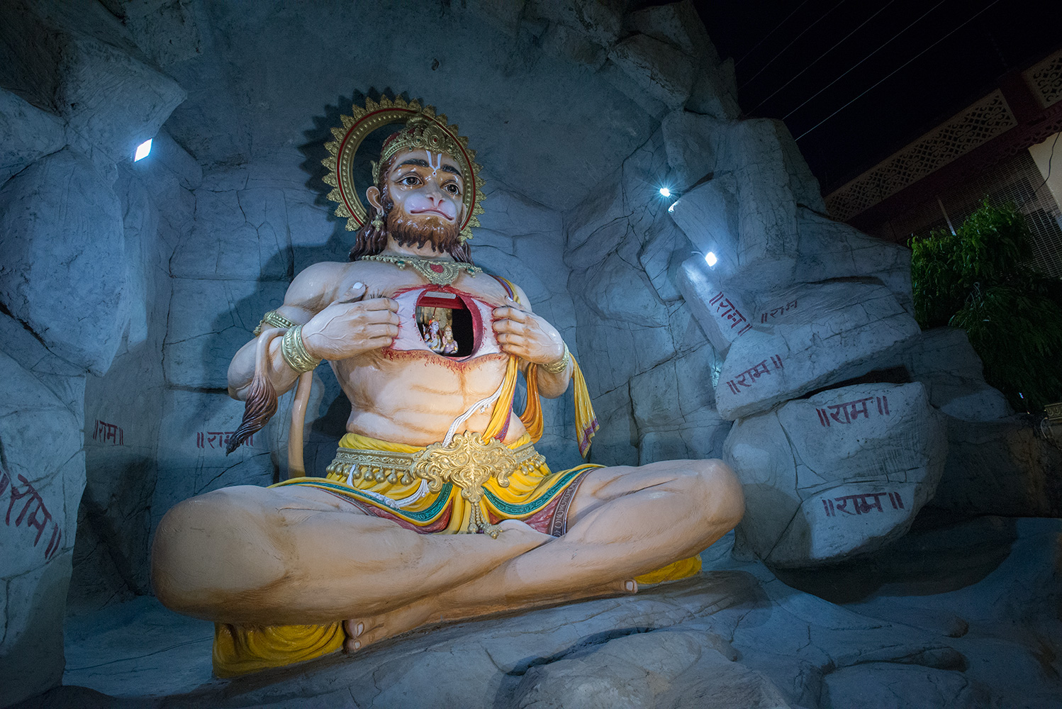 Hanuman is one of the central characters in the various versions of the epic Ramayana. In this huge statue at Rishikesh he is showing Rama and Sita in his heart.