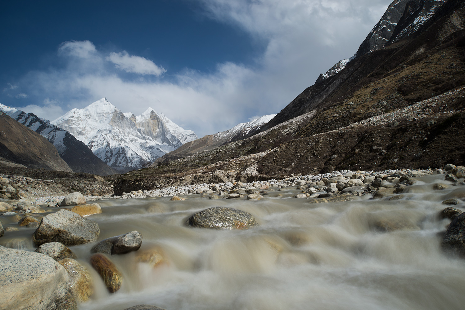 At Chirbasa, with the Bhagirathi peaks straight ahead up valley.