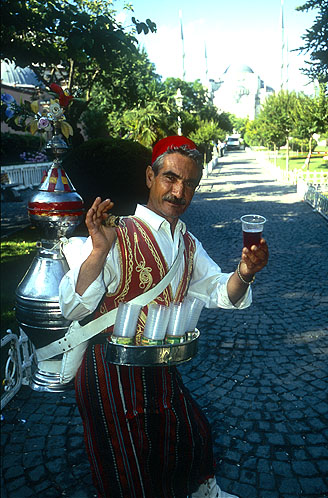 Tea seller outside the Aya SofyaNikon F5, 17-35mm, Fuji Velvia 100