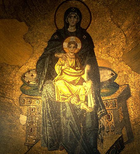 10th Century (Byzantine) mosaic - Theotokos (Virgin Mother and Child) - in the ApseNikon F5, 50mm, Fuji Velvia 100