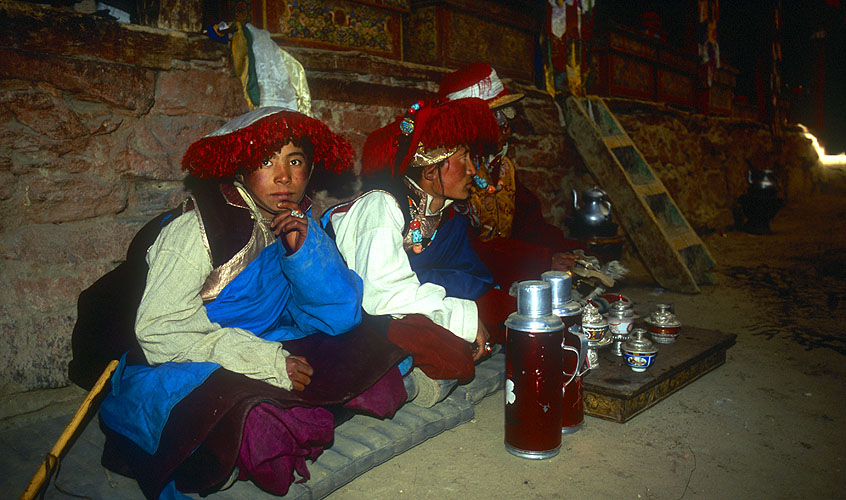 Men from Jhang village during a festival at this ancient monastery.North-west Nepal.Nikon F5, 17-35mm, Fuji Velvia 100
