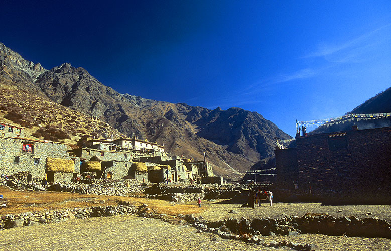 Jhang is the highest villlage in the Limi valley, an almost impossibly remote enclave of Tibetan culture on the border with Tibet in north-west Nepal.Nikon F5, 17-35mm, Fuji Velvia 100
