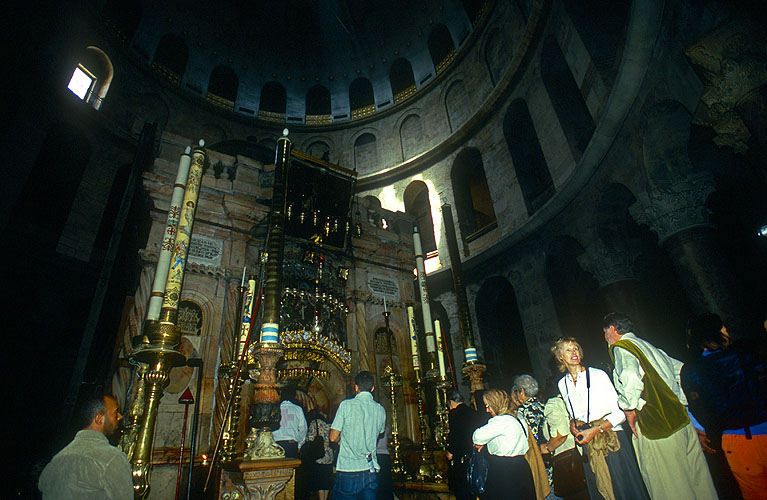 Waiting to view the interior of the Church of the Anastasis, within the Church of the Holy Sepulcher, JerusalemNikon F5, 17-35mm, Fuji Velvia 100