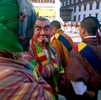 Clowns prepare to entertain he crowds at the annual tsechuNikon FM2, 24mm, Fuji Velvia