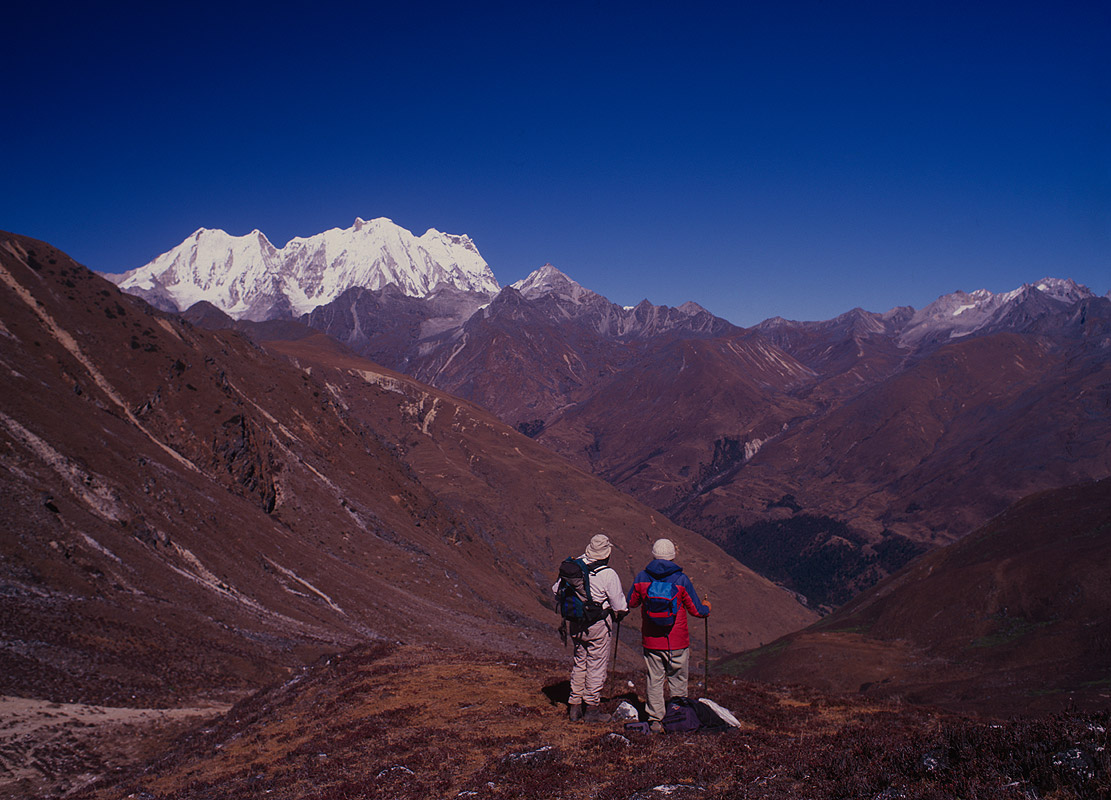 A view east from the Jhari La (4785m) to Kang Cheda or Great Tiger Mountain (6840m)Nikon FM2, 24mm, Fuji Velvia