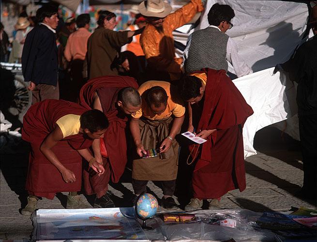 Monks shopping in the Barkhor SquareBronica ETRSi, 150mm, Fuji Velvia