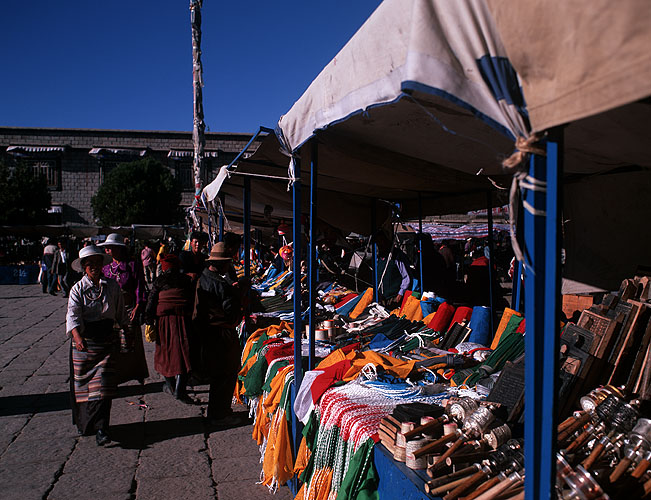 The market in front of the Jokhang temple in Barkhor SquareBronica ETRSi, 50mm, Fuji Velvia