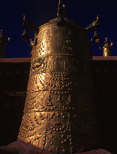An enormous gold-leafed example of a dpal-be or cylindrical banner depicting the Buddhist victory over ignorance and deathBronica ETRSi, 50mm, Fuji Velvia
