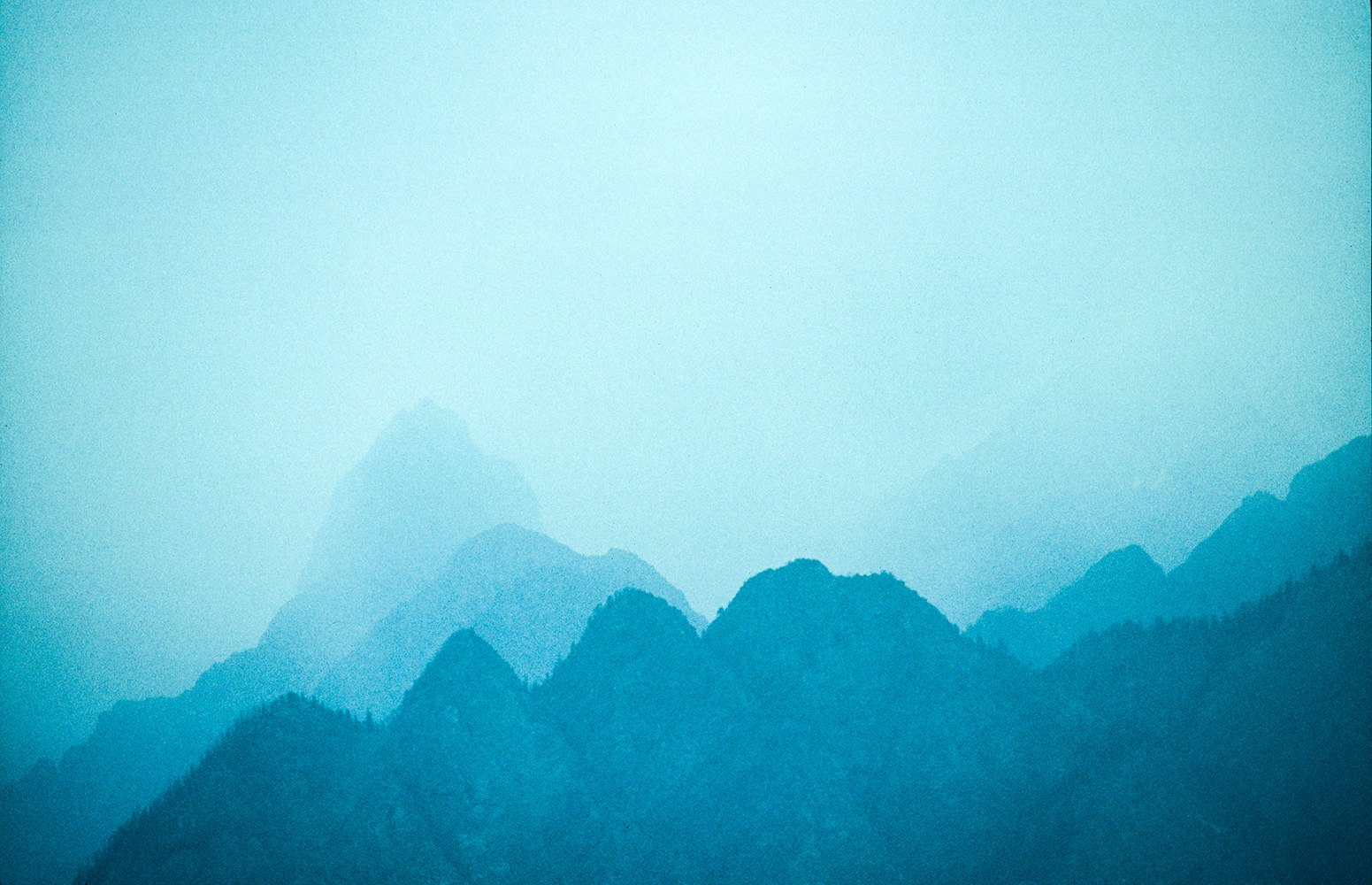 The Himalaya rising into the evening haze, from the road to JoshimathNikon F5, 180mm, Fuji Velvia 100
