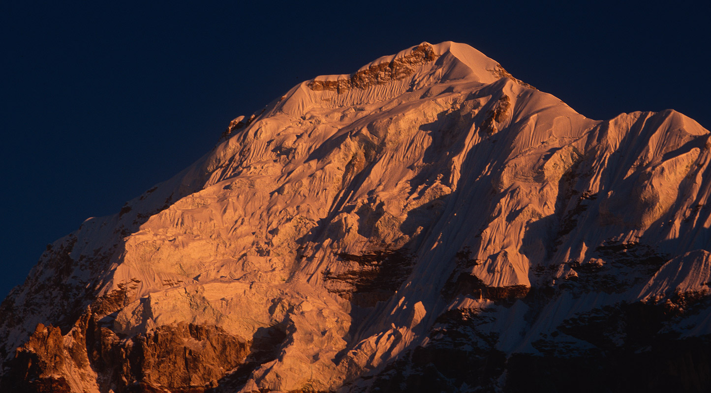 Summit at sunset from near Oktang on the Yalung glacier, NepalNikon FM2, 105mm, Fuji Velvia