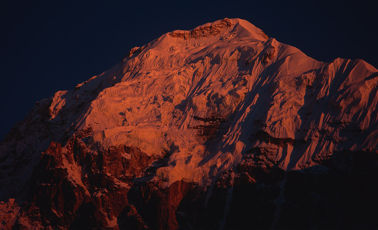 A telephoto of this 7412m summit seen from Ramze on the Yalung glacierProject VeronicaMedium format images re-scanned in a professional glass film- holder with my Nikon Coolscan 9000 and Silverfast 8 software. These images display larger on the site - enjoy!Bronica ETRSi, 150mm, Fuji Velvia
