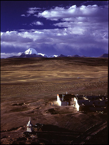 The holy mountain, seen here from the roof of Chhiu Gompah on the shores of Manasarovar Lake.Bronica ETRS, 50mm, Fuji Velvia