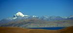 Kang Rimpoche - seen across the waters of Rakas Tal from the northern slopes of the Gurla La.Ngari, Western TibetNikon FM2, 17-35mm, Fuji Velvia