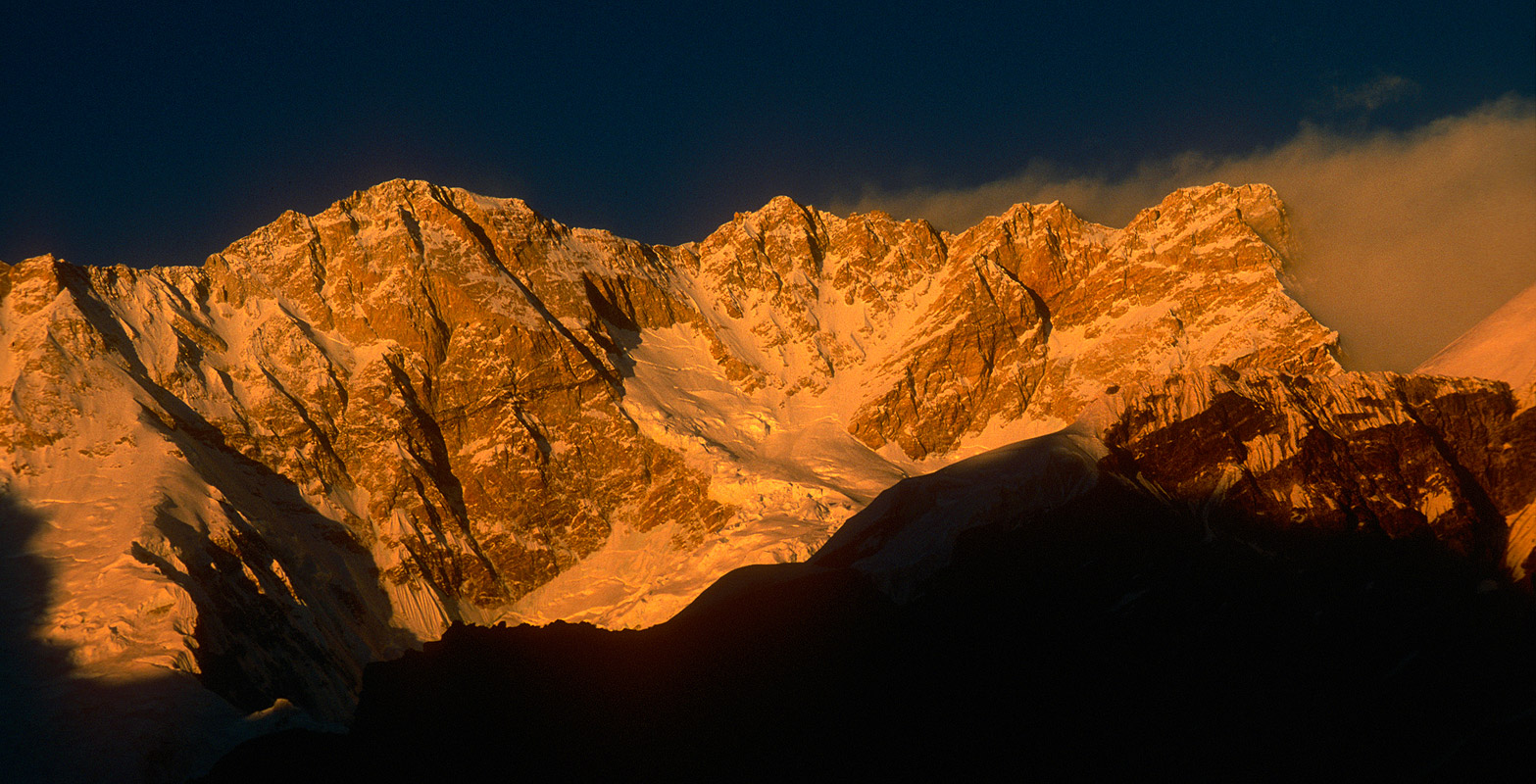 Sunset light illuminating the entire south face of Kangchendzonga, from Oktang on the Yalung glacier.Nikon FM2, 24mm, Fuji Velvia