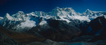 A panorama of three telephotos, taken from the crest of the Kanglakarchung La on the Snowman Trek. Stitched together in Photoshop to make a 14,000 pixel wide image. The central peak is Teri Kang, 7127m.Bronica ETRSi, 150mm, Fuji Velvia