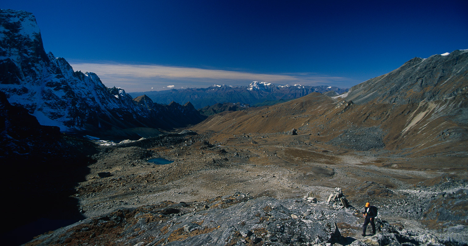 Ascending to this 5020m pass, sometimes known as the Karakachu La, from the high camp at Narethang.Nikon FM2, 28mm, Fuji Velvia