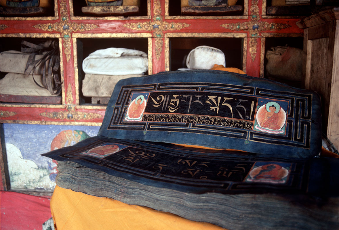 In the library at Karsha Gompa, ZanskarCanon A1, 50mm, Kodachrome