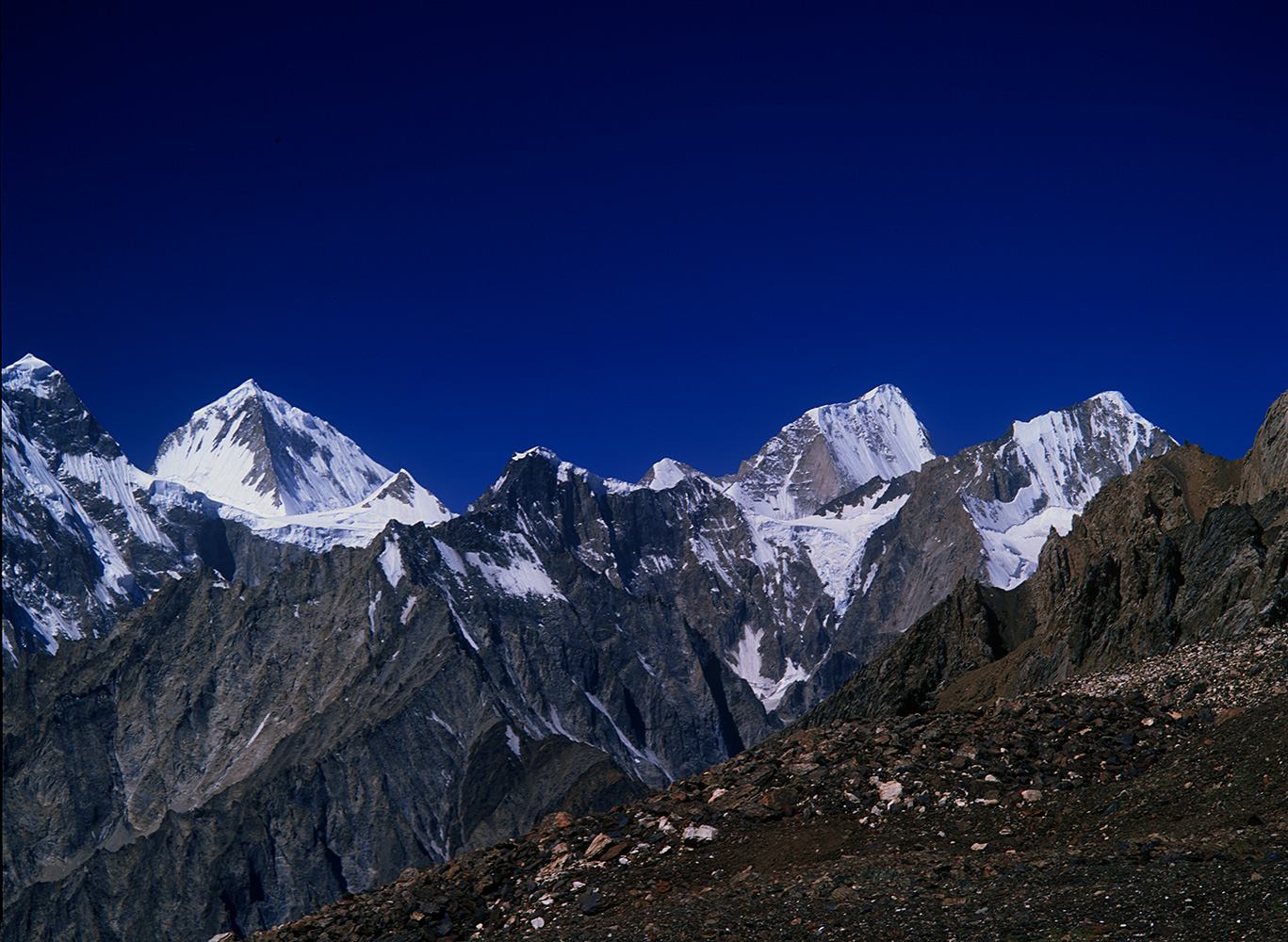Seen from the high camp on the western side of the Chilinji Pass.Bronica ETRSi, Fuji RDP2