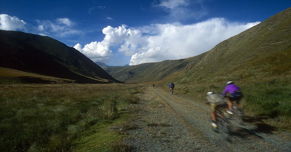 Heli-biking - heading back to base in the Karkara valley, KyrghyzstanNikon FM2, 24mm, Fuji Velvia