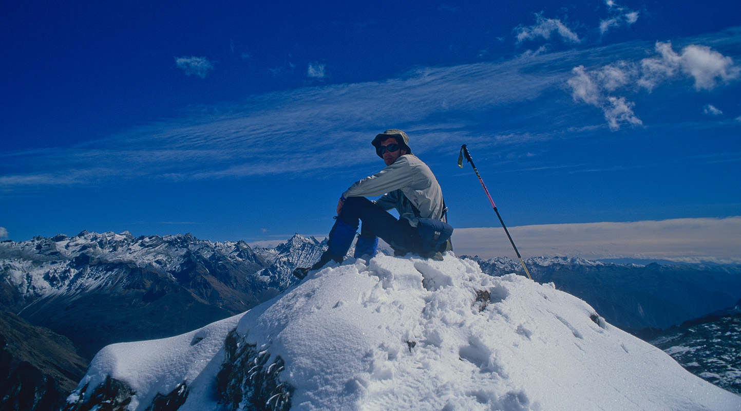 Dr Ken Fotherby contemplates the awesome view north from this snowy spur above Uruthang to the eastNikon FM2, 28mm, Fuji Velvia