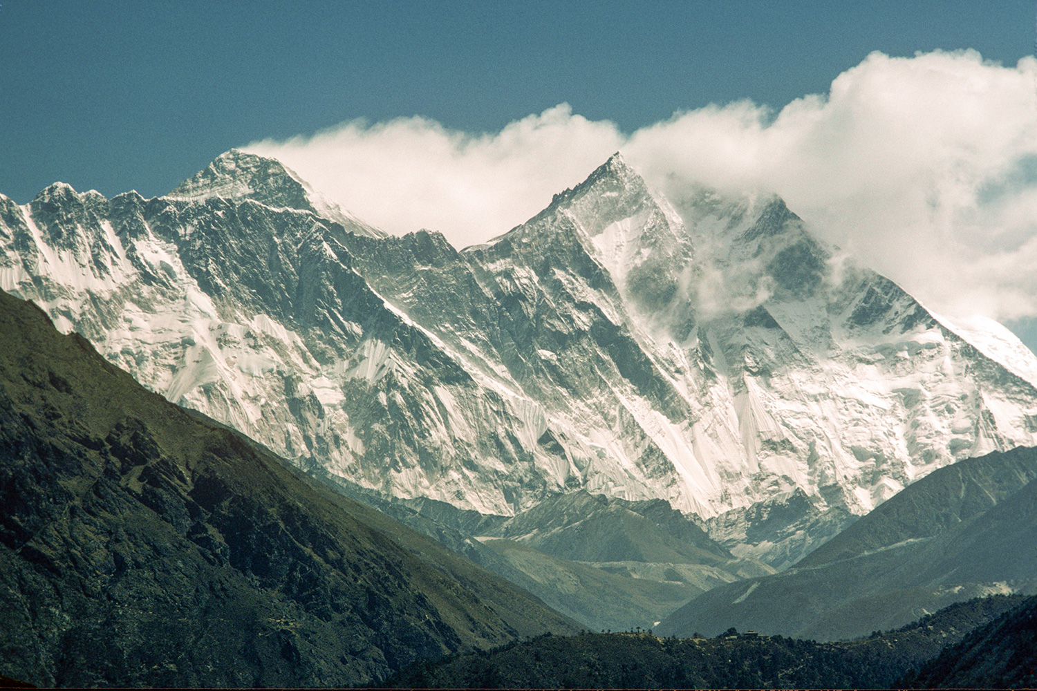 Telephoto from the Khumbu valley above Namche Bazaar, taken in April 1984Canon A1, 135mm, Kodachrome 64