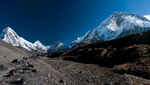 From between Lobuche and Gorak Shep. Peaks visible are, from left to right, Pumori, Lingtren, Khumbutse, Changtse and Nuptse.A stitch of two imagesNikon D300, 17-35mm. November 2008