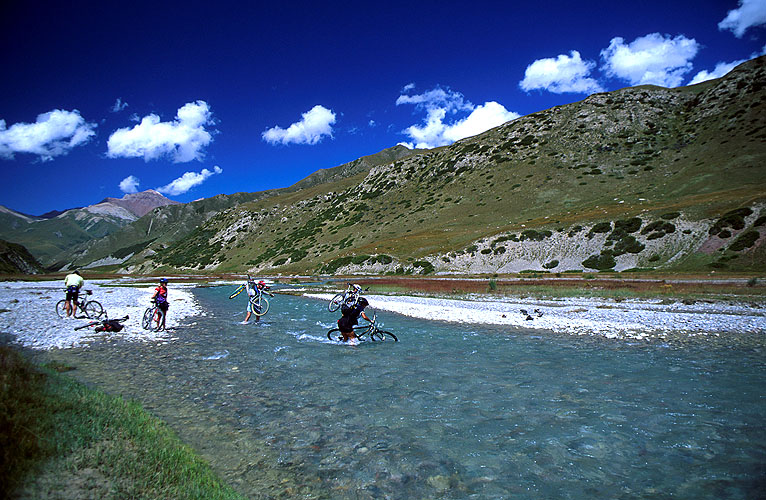One of many crossings of this stream that have to be made on the long day's ride to a high camp below the Mingtur PassNikon FM2, 24mm, Fuji Velvia