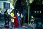 Queuing to make puja at a tiny shrine in Durbar SquareNikon FM2, 24mm, Fuji Velvia