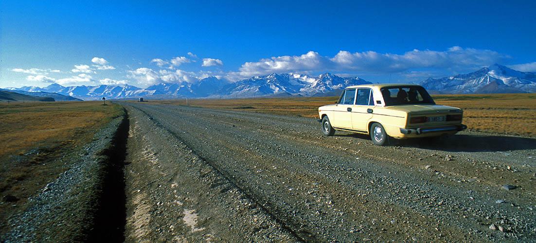 On the road to the Torugart Pass between Kyrghyzstan and XinjiangNikon FM2, 24mm, Fuji Velvia
