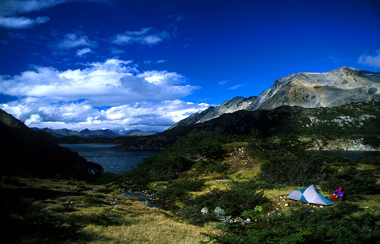 An idyllic camp-site at the southern end of this beautiful lake at the head of the Valle Cinco LagunasNikon FM2, 24mm, Fuji Velvia