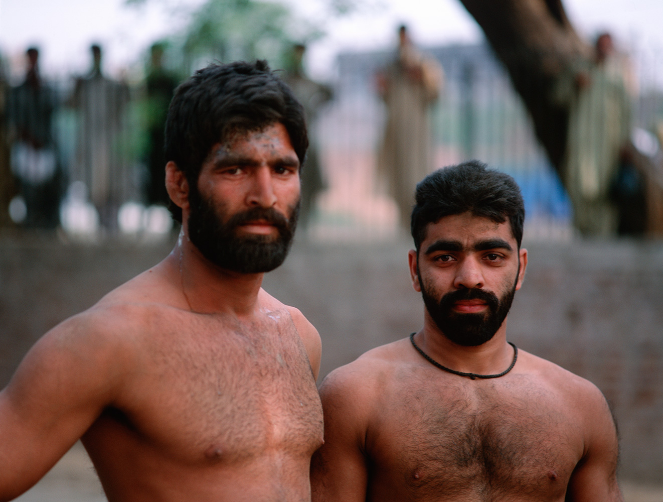 Wrestlers  training in the Hazuri Bagh, Lahore. Wrestling, or koshti, has been practiced in Pakistan since ancient times, and here in the Punjab it is known as Pehlwani.Bronica ETRS, 50mm, Fuji Velvia