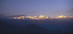 A panorama at dawn from the Shivapuri Lekh to the north of KathmanduNikon FM2, 24mm, Fuji Velvia