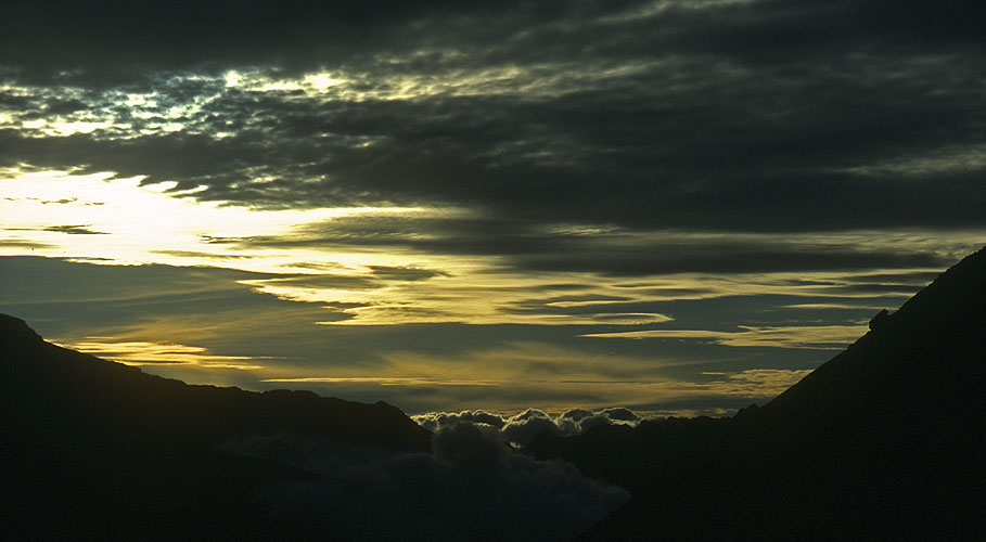Sunset clouds over the Langtang Valley.Nikon FM2, 24mm, Fuji Velvia