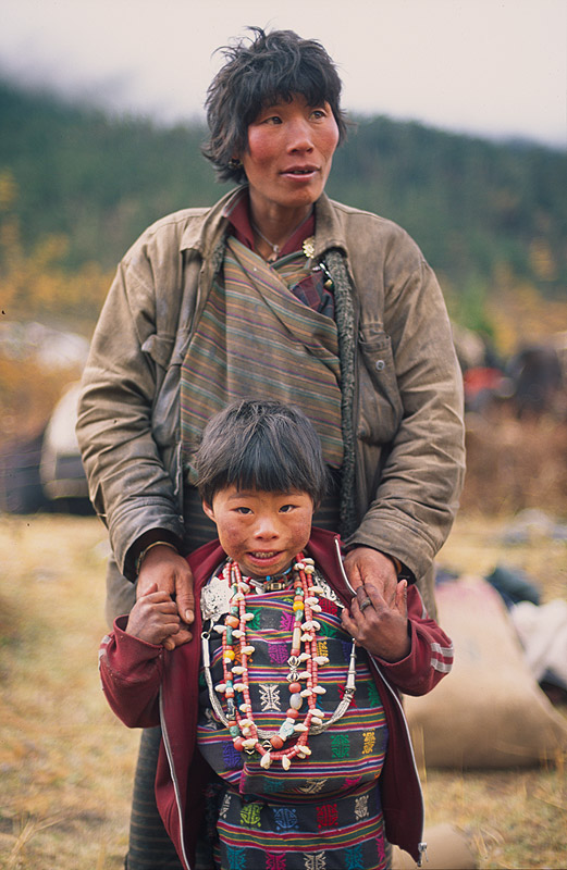 Woman and child at this village below Thanza in the Mo Chhu valley. Altitude is 3700mNikon FM2, 50mm, Fuji Velvia