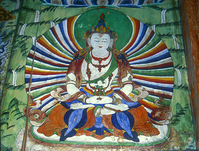 Villages in Nupri (the Buddhist upper reaches of the Buri Gandaki valley) have elaborate entrance chortens, and this is a detail of the mural in the archway under the one at Lho.