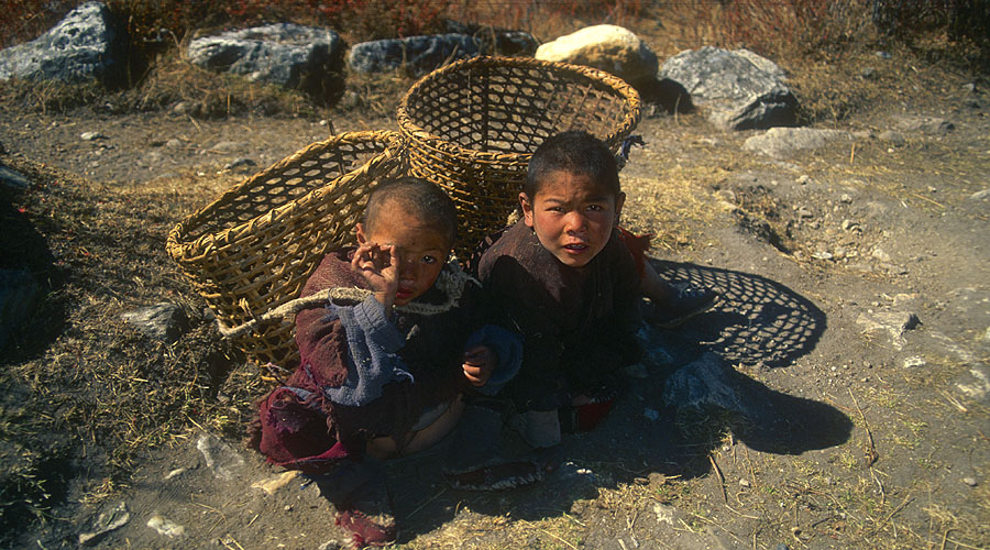 Two young boys from the village of Sama Gaon in Nupri.Canon EOS 500, 28mm, Fuji Velvia